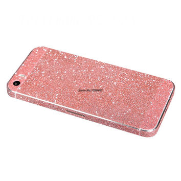 Reg Free Shipping Full Body Glitter Bling Sticker Case For iPhone SE Strass Coque Shining Skin Cover For iPhone 5/5S Funda
