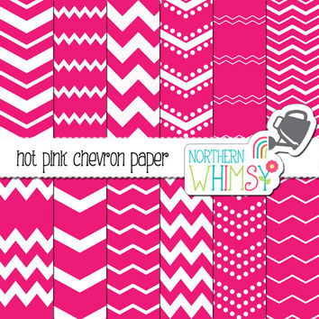 Hot Pink Chevron Digital Paper Pack – hot pink and white seamless chevron paper - seamless patterns for scrapbooking & graphic design –CU OK