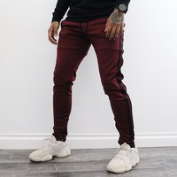 Abe Double Striped Pants (Burgundy)
