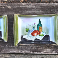 Vintage Condiment Dishes, Sushi Soy Sauce, Two Nesting, Hand-Painted Wine & Fruit Still Life, Asian Small Size