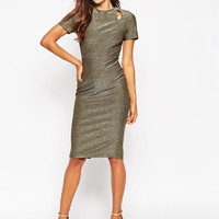 ASOS Bonded Metallic Cut Out Pencil Midi Dress