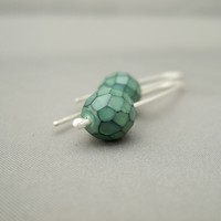 Celadon Green Faceted Czech Glass and Sterling Silver Dragon's Scale Earrings | The Silver Forge Handcrafted Jewellery