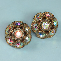"Sarah Coventry ""Dancing Magic"" Earrings AB Rhinestones Vintage"