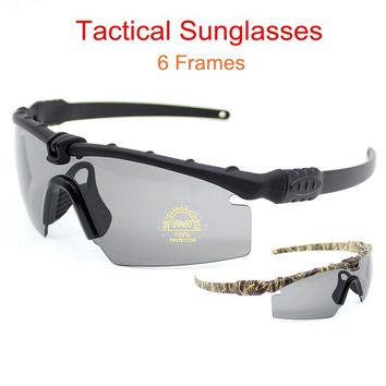 Tactical Sunglasses Shooting Hunting Goggle Sunglasses Outdoor Sports Safety Glasses Eye Protection Mens Glasses 3 Lens