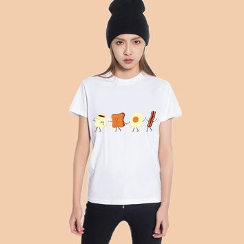 Cartoon Coffee Bread Egg Bacon Hand in Hand Print Tee Shirt - Women's Crew Neck T-Shirt