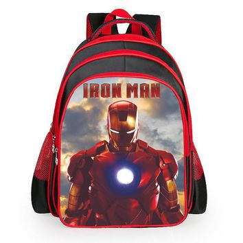 16 in 2016 Heroes Iron Man Pattern Student Backpack Children Pupil School Bag Boys/Girl Backpacks Book Bags for Kids, teengers