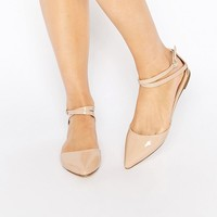 London Rebel Two Part Ankle Strap Flat Shoes at asos.com