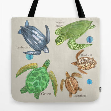 Sea Turtle Types Tote Bag, watercolor illustration, Green, Loggerhead, leather back, hawksbill, Kemp's Ridley, gift, mom, beach bag