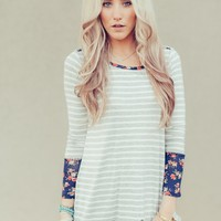 Pattern Play Floral Striped Tee