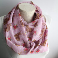 Rabbit Scarf, Animal Scarf, Bunny Infinity Scarf, Birthday Gift, Women Scarves, From Son, From Daughter, Trending Items,