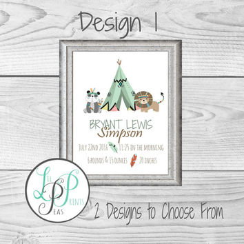 Tribal Birth Stats Print, Coral and Mint Nursery Print, Flamingo Nursery Print, Teepee Nursery Decor, Fox Nursery Decor, Aztec Nursery Decor