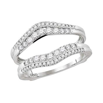14kt White Gold Women's Round Diamond Ring Guard Wrap Enhancer Wedding Band 1/2 Cttw - FREE Shipping (US/CAN)