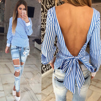 ♡ backless blue striped women blouse♡