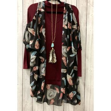 Z Feather Short Sleeve Cold Shoulder Cardigan Kimono  with One Size ZZ