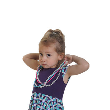 Purple vinatage style special design twirly dress for beautiful girls