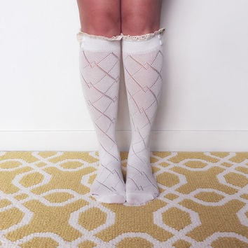 SALE - Ivory Lace Trim Knitted Button Boot Socks, Leg Warmers, Boot Topper, Knitted Boot Socks, Crochet Lace Trim, Buttoned Boot Socks
