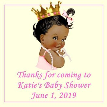 Princess Baby Shower Favor Tags Dark Skin