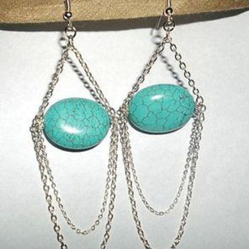 Natural Turquoise Chandelier With Silver Chains Dangly Drop Earrings