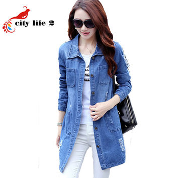 Long Jeans Jacket Women New Large Size 4XL 5XL 2016 Long-Sleeved Female Coat Autumn Denim Jacket