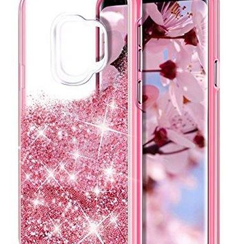 Galaxy S9 Case,Aemotoy Galaxy S9 Glitter Liquid Bead Sparkle Girly Crystal Bling Case Full Body 2 in 1 Shockproof TPU Bumper Hard Protective Cover for Samsung Galaxy S9 (Fancy Pink)