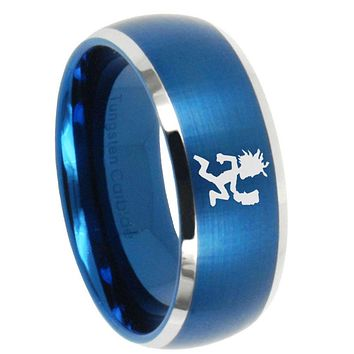10mm Hatchet Man Dome Brushed Blue 2 Tone Tungsten Carbide Mens Promise Ring