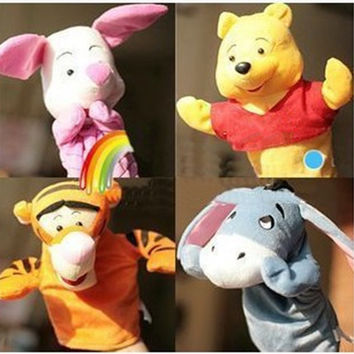 Children Animal Hand Puppet Toys  Portable Cartoon Baby Plush Toys Kids Educational stuffed Toy Cute Bear tiger pig donkey  TO93