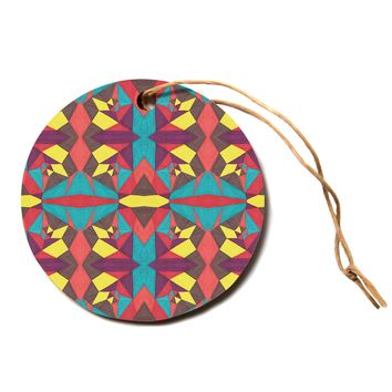"Empire Ruhl ""Abstract Insects"" Multicolor Circle Holiday Ornament"