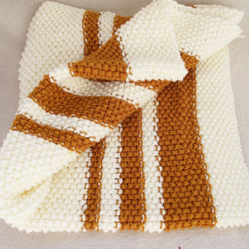 Hand Knit Baby Blanket off white rust knitted blankie cream children stroller cover afghan photo prop