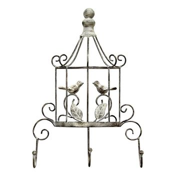 Stratton Home Birdcage 3-Hook Metal Wall Decor