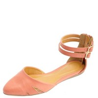 CUT-OUT D'ORSAY ANKLE STRAP FLATS