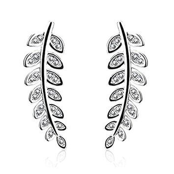 BodyJ4You Pair of CZ Paved Olive Leaf Crystal Clear Ear Crawler Silvertone Ear Climber