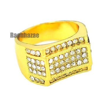 DCCKH7E MENS HIP HOP RAPPER CHUNKY MICRO PAVE 14K GOLD PLATED RING SIZE 7 - 12 N011G