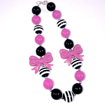 RTS Purple and Black Bow Chunky Necklace