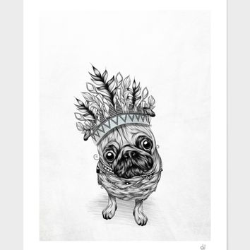 """""""Indian Pug"""", Numbered Edition Affiches d'art by LouJah - From 25,00€ - Curioos"""