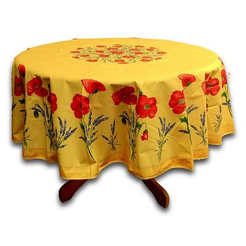 Wipeable Tablecloth Round & Rectangle Spillproof French Acrylic Coated Poppy