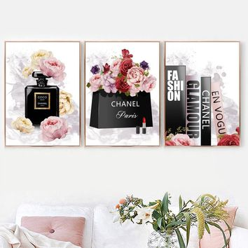 Paris Perfume Rose Fashion Logo Posters And Prints Wall Art Canvas Painting Watercolor Salon Wall Pictures For Living Room Decor