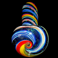 Electric Midnight Rainbow Glass Smoking Pipe - Large Inside Fumed Spoon Bowl with Triple Dark Dichroic Sparkly Spirals