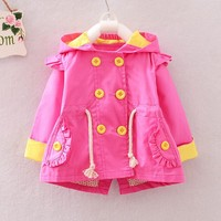 Fashion Spring Autumn Girls Double Breasted Cardigan Infant baby kids Hooded Coat Children Outwear Coats Trench S2787