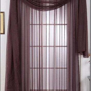 Coffee 54x84 Panel Solid Sheer Window Treatment
