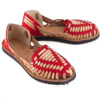 Women's Red Woven Leather Huarache Sandals