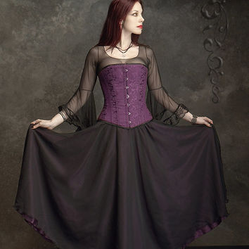 Marianna Layered Long Fairy Skirt in Chiffon and Satin - Custom Elegant Gothic Clothing and Dark Romantic Couture