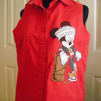 vintage Red sleeveless Mickey Mouse Top Shirt ... indie grunge hipter Size Medium button up