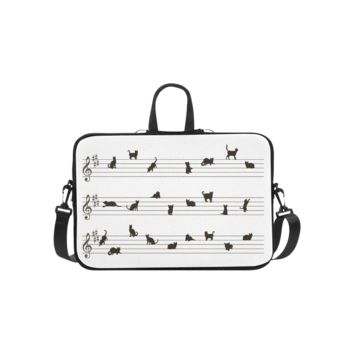 Personalized Laptop Shoulder Bag Conceptual Cat Song Music Notation Made Of Cats Macbook Pro 15 Inch