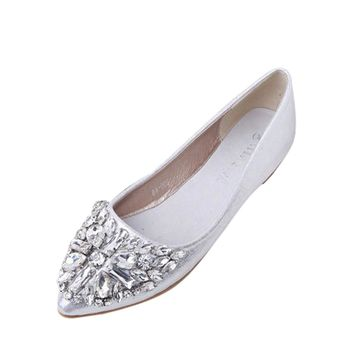 Women's Pointed Toe Ladise Shoes Casual Rhinestone Low Heel Flat Shoes Female tenis feminino Girls Fashion Flats A8