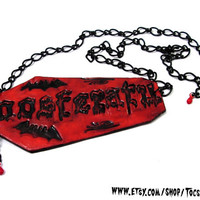 NOSFERATU COFFIN NECKLACE vampire dracula fangs bite gothic psychobilly horror / Shipping included