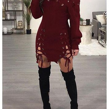 Burgundy Cut Out Asymmetric Shoulder Lace-up Long Sleeve Club Sweater Mini Dress