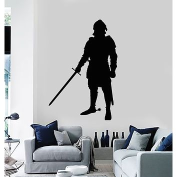 Vinyl Wall Decal Warrior Middle Ages Knight In Armor With Sword Stickers Mural (g1552)