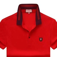 GUCCI 2019 new high-end men's POLO shirt lapel half-sleeved shirt red