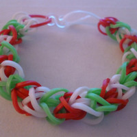 Loom Band Christmas Bracelet - Red/Green/White