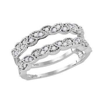 14kt White Gold Women's Round Diamond Milgrain Wrap Ring Guard Enhancer Wedding Band 1/3 Cttw - FREE Shipping (US/CAN)
